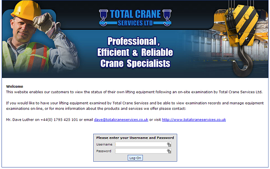 Total Crane Services - Logon